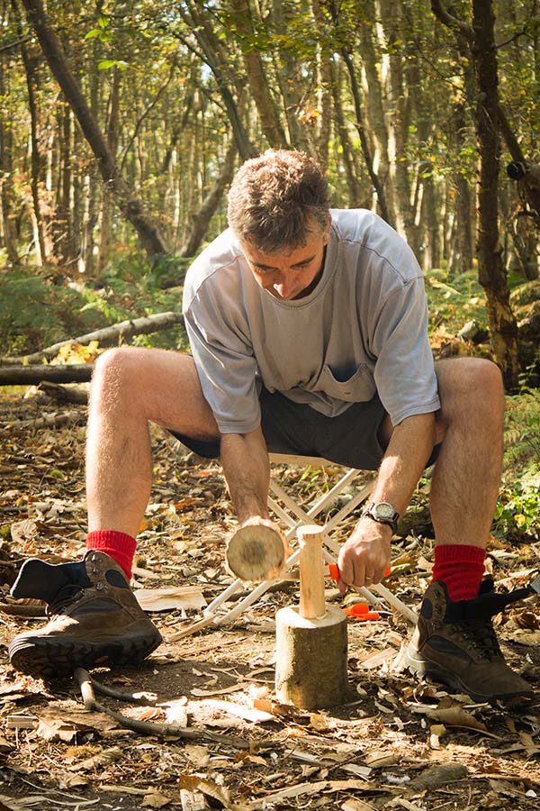 Crafting a mallet in the woods